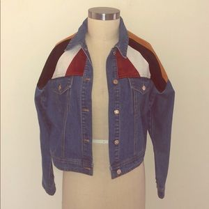 Cropped Denim Jacket with Multi Colored Suede